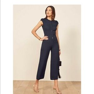 Reformation Navy Blue Button Down Jumpsuit